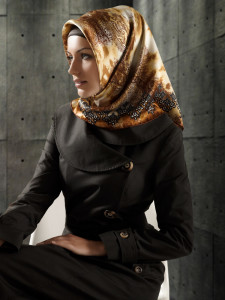 Fancy silk hijab designs
