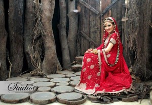 Red pakistani bridal dresses 2013