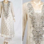 White formal dresses with silver work