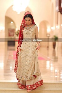 Bridal long shirt lehnga red color