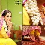 Pink and yellow bridal mehndi dresses 2013