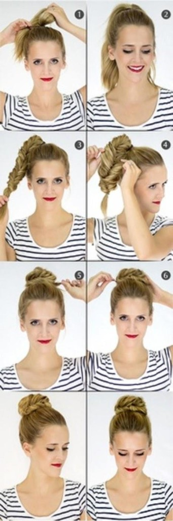 Steps of summer updo hair bun styles 2013