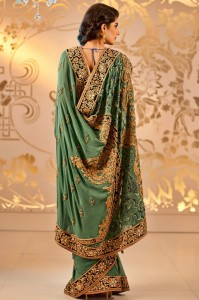 Embroidered indian bridal saree