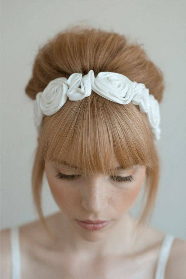 Back Chignon, graduated bangs and head piece