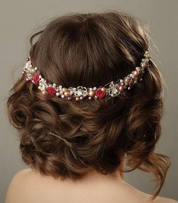 Curly Scrunched up Hairdo with Hair accessory