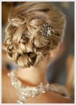 Twisted Accessorized Medium Bridal hairstyle