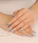 Acrylic nail art with beads