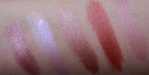 Brown swatches of lipsticks by MAC