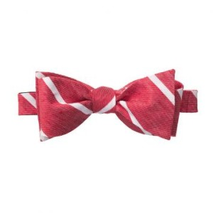 Linen red stripe bow ties for men 2014