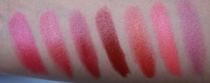 Red to pink Lipstick swatches by MAC
