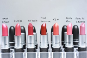 Red to pink Mac lipstick swatches