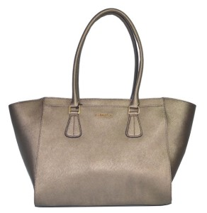 Calvin Klein Bag Metallic Saffiano Bronze Leather Handbag CK Purse