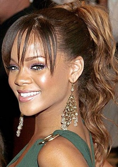 ponytail with bangs for black girls