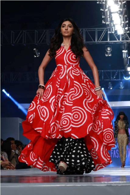 Simple printed pakistani frock designs 2015